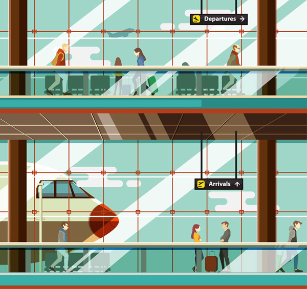 Waiting hall illustration