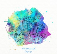 Water color painting City Scenery