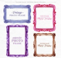 Water color retro photo frame