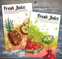 Water painted fruit juice Poster