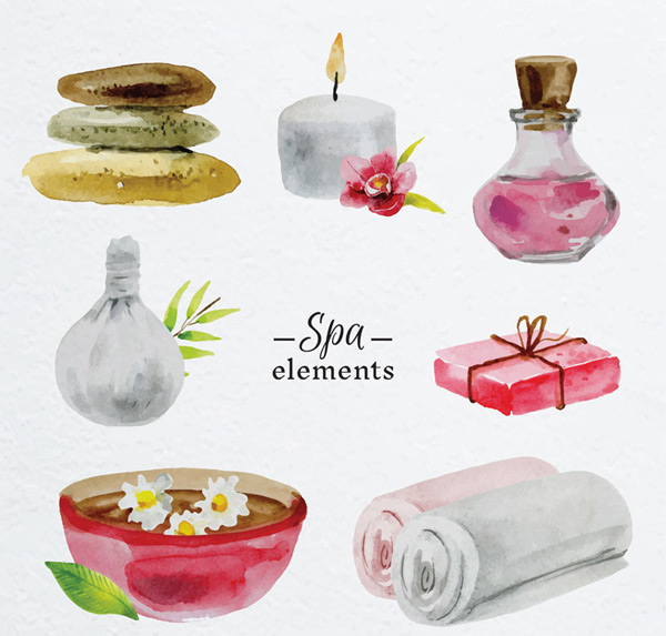 Water painted spa elements