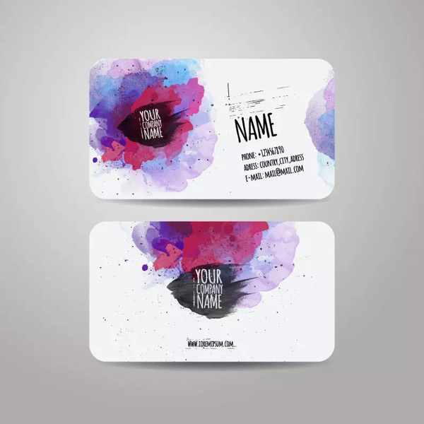 Watercolor graffiti business card