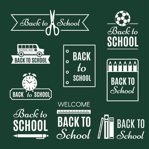 White back to school label