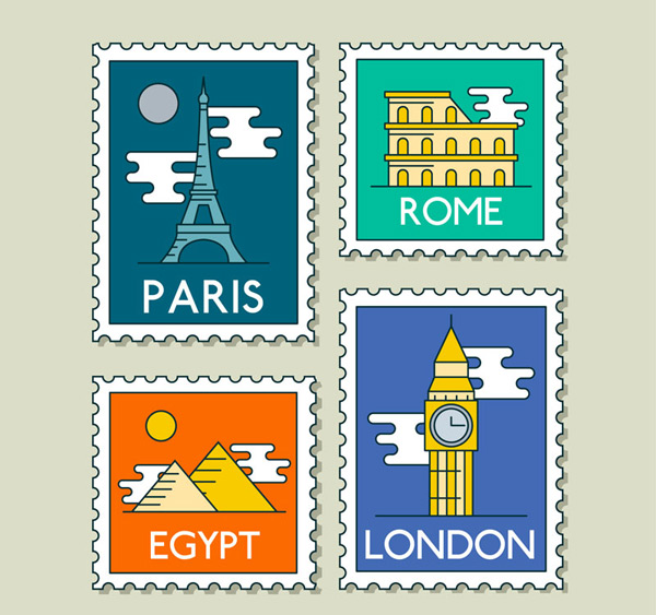 World travel stamps
