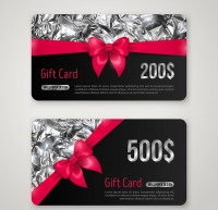 Black ribbon gift cards