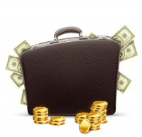 Briefcase and money