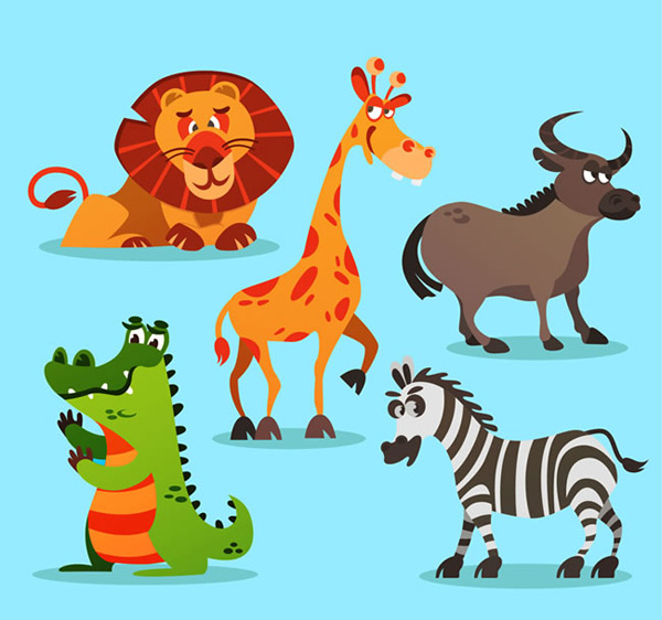 Cartoon African wildlife