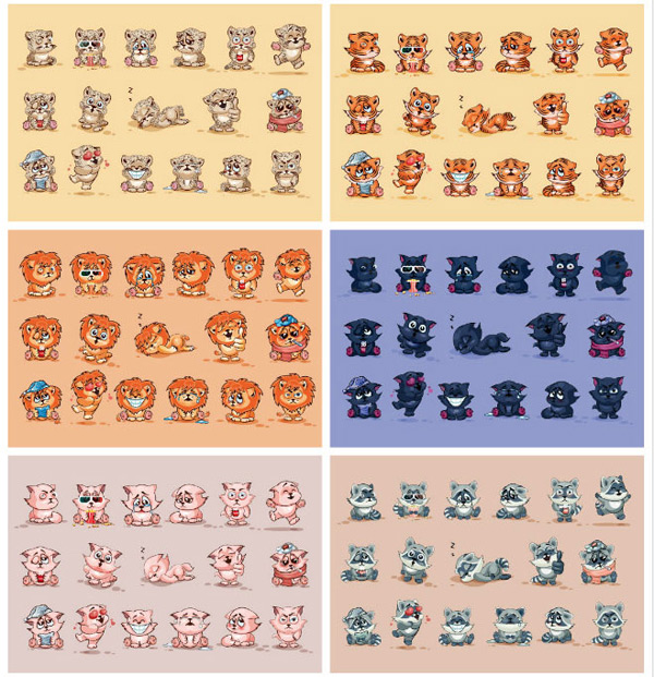 Cartoon animal expression pack