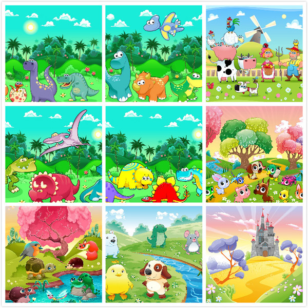 Cartoon animal landscape illustration