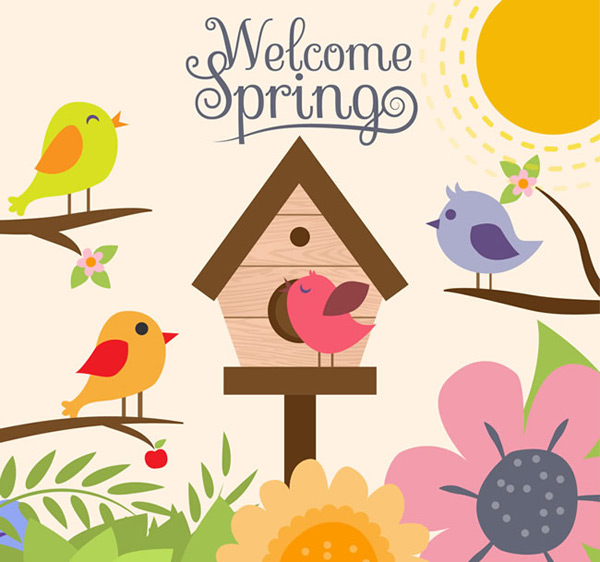 Cartoon birds and flowers in spring