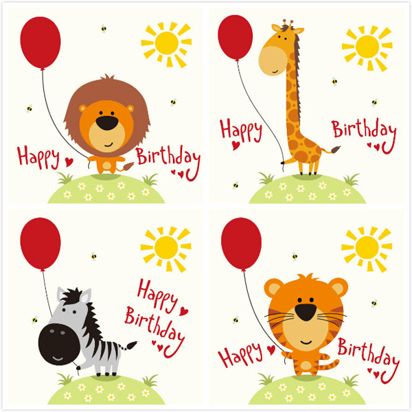 Cartoon birthday animal