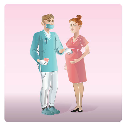 Cartoon doctors and pregnant women
