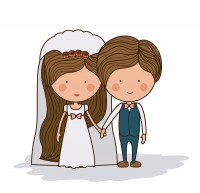 Cartoon image of bride and bridegroom