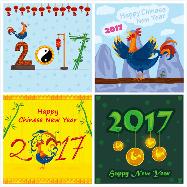 Chicken year vector material