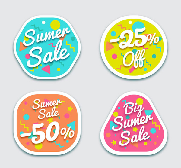Color summer promotion label