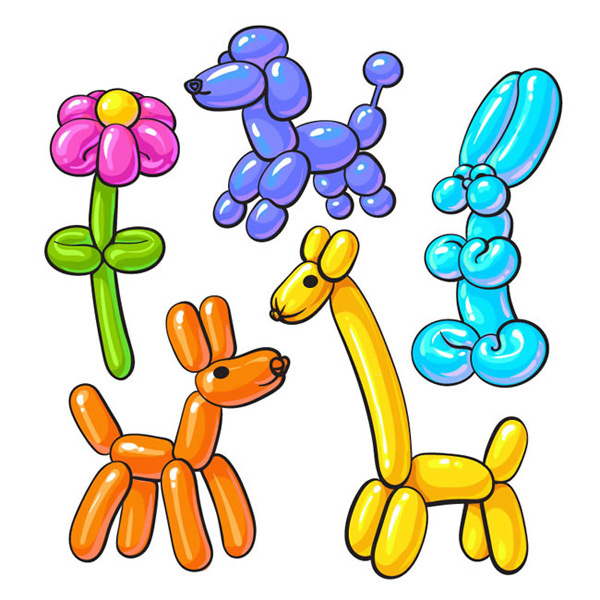 Colorful balloons animals and plants