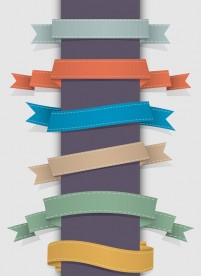 Colorful ribbon label