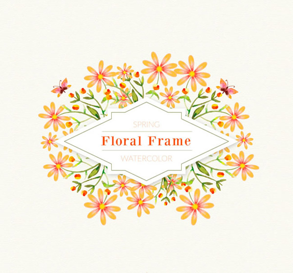 Flower and butterfly frame