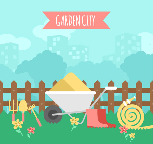 Gardening tools illustration