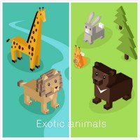 Geometric stereoscopic cartoon animal