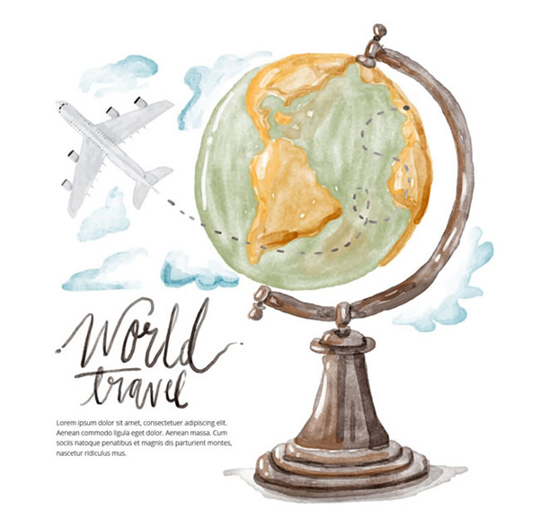 Globes and airplanes