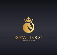 Golden crown horse head logo