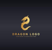 Golden dragon shaped logo