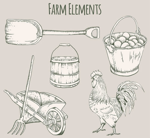 Hand painted farm elements