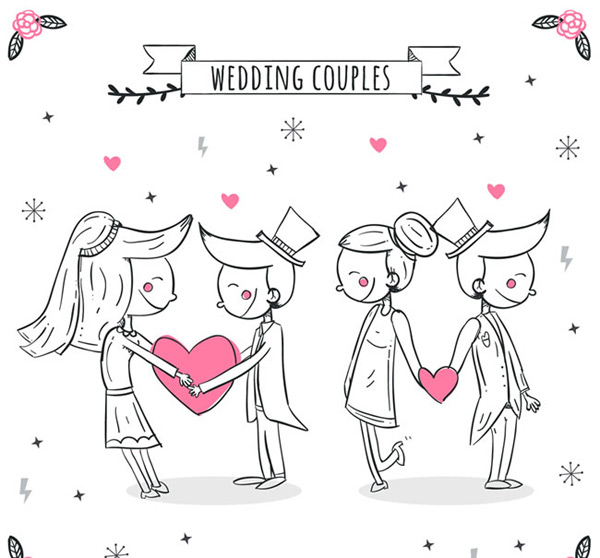 Hand painted wedding new person vector
