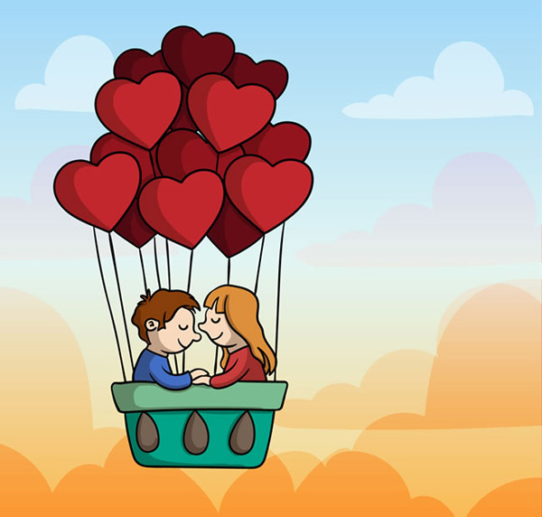 Lovers in balloons