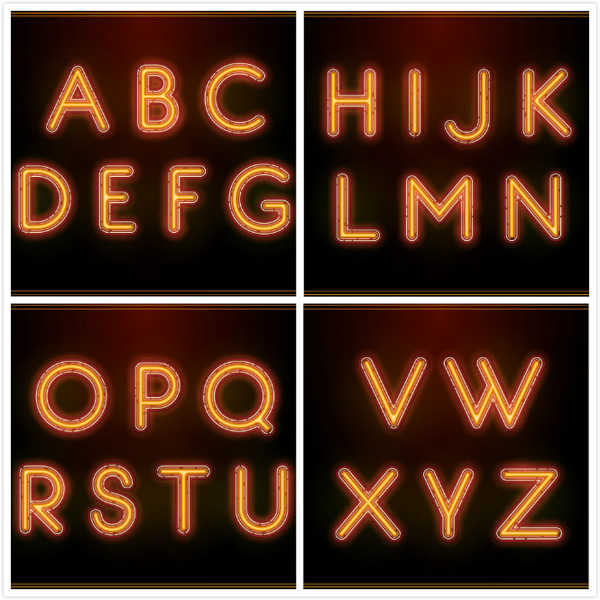 Luminous English letters