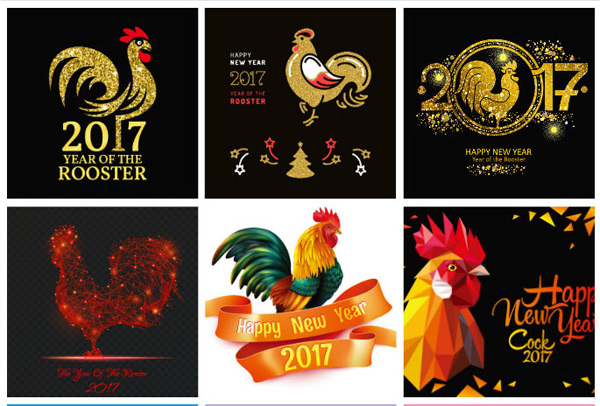 New year chicken vector material