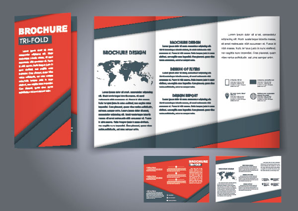 Red business folding template