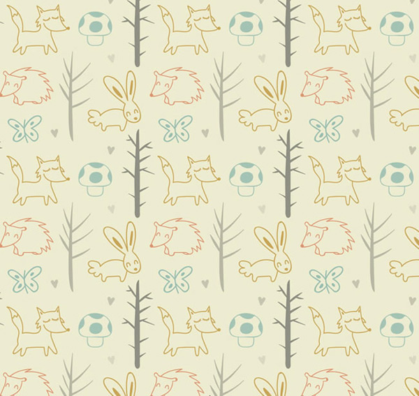 Seamless background of animals and plants