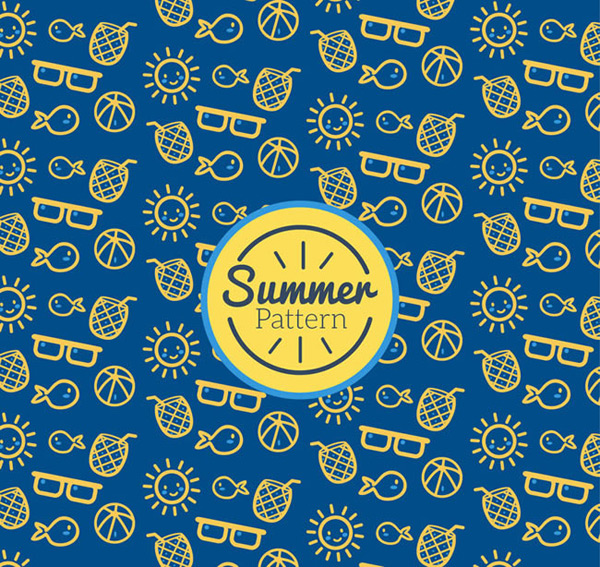 Seamless background of elements in summer