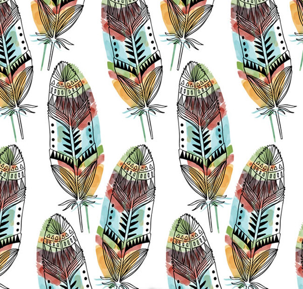 Seamless background of feathers