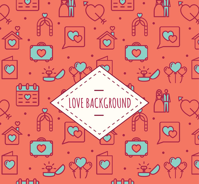 Seamless background of love elements