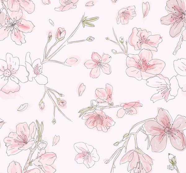 Seamless background of peach blossom