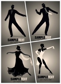 Silhouettes of dancing figures