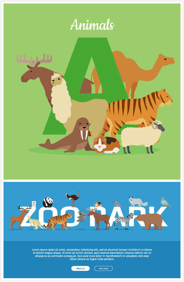 Small animals and letters