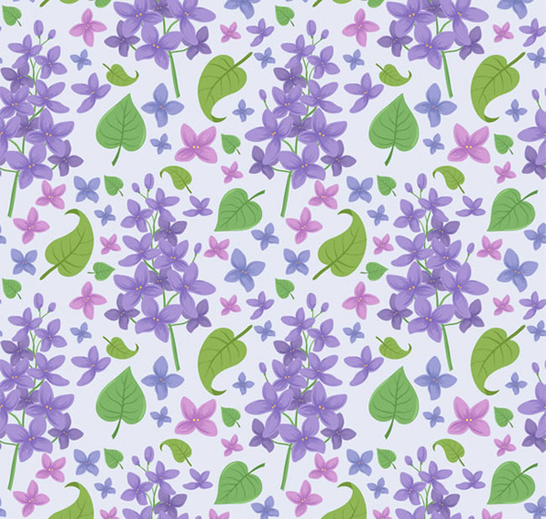 The background of lilacs and leaves