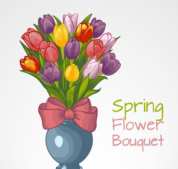 Tulip flower arrangement vector