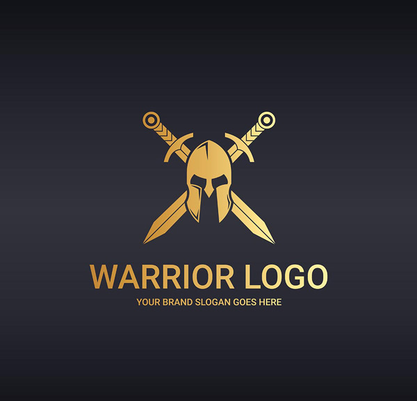 Warrior mask sword logo