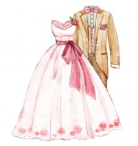 Water painted wedding dresses and suits