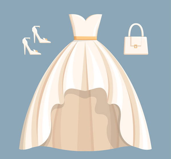 Wedding dress and accessories vector