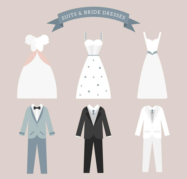 Wedding dress and suit vector
