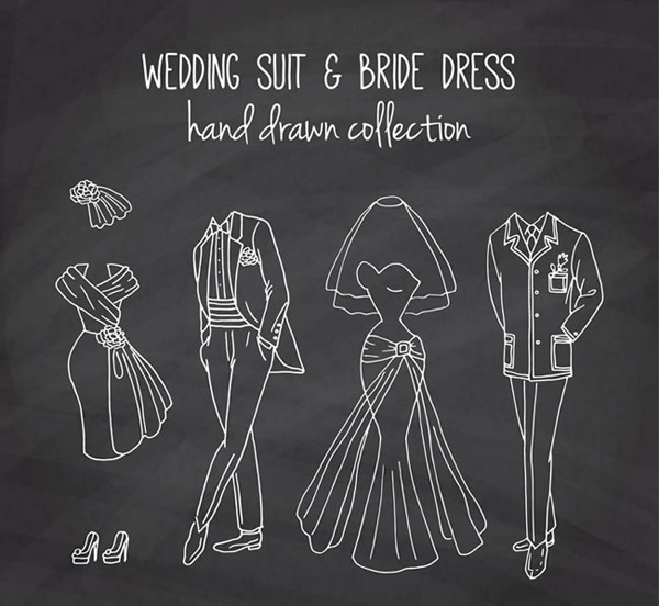 Wedding dress blackboard painting