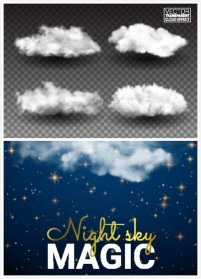 White clouds and starlight