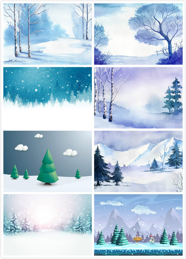 Winter snow scene illustration