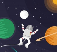 Astronaut in space walk